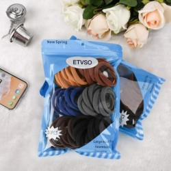 ETVSO 50PCS Hair Ties for Women, Cotton Seamless Hair Bands, Elastic Ponytail Holders