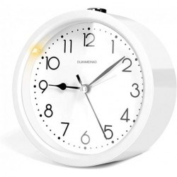 DUANMEINAD 4.5 inches Round Silent Analog Alarm Clock Non Ticking,Battery Operated,Beep Sounds, Increasing Volume, Snooze and Light Functions(White)