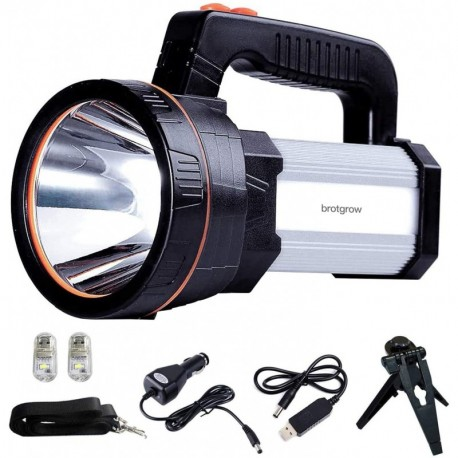 brotgrow Searchlight Rechargeable 7000 Lumens 6000mAh Flashlight Waterproof Searchlight with 5 Light Model (Silver)