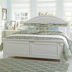 Homelist   Panel Bed, Oyster White