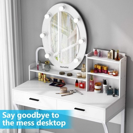Homelist  Elegant Makeup Dressing Table,Vanity Table with Lighted Mirror(White)