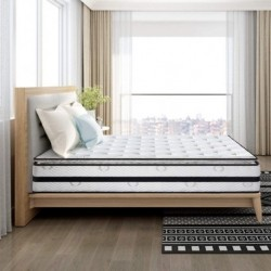 Isaac Sleep  Pillow Top Series - 12.2 Inch Innerspring Hybrid Queen Mattress/Bed in a Box, Medium Firm Plush Feel - Multi-Layer Memory Foam and Pocket Spring - CertiPUR-US Certified/10 Year Warranty