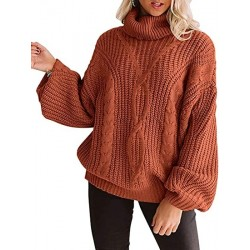 PTALUU Womens Long Sleeve Turtleneck Sweater Chunky Cable Knit Oversized Pullover Jumper Tops