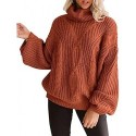 PTALUUWomens Long Sleeve Turtleneck Sweater Chunky Cable Knit Oversized Pullover Jumper Tops