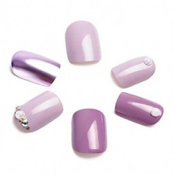 RUSPRU 24pcs Purple Fake Nails, Solid Elegant Nail Art Medium Length Square False Nails Full Cover with Design