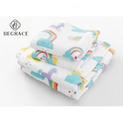BEGRACE  Full Size Bed Sheets Rainbows and Unicorn 4 Piece Set │ Blue and White, Unisex, Flexible Microfiber, Durable, Wrinkle-Resistant Bedding