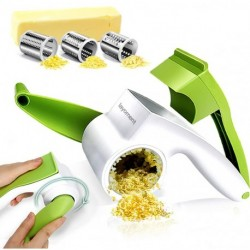 layoment  Rotary Cheese grater,Cheese Graters for Kitchen with 3 Stainless Steel Blades Rotary Cheese Slicer Cutter Handheld