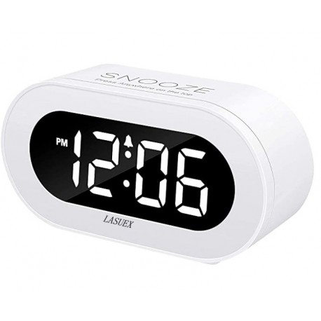 LASUEX Small LED Digital Alarm Clock,Outlet Powered Compact Clock for Bedrooms