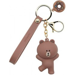 OhDeal4U  Keychains with Cute Cartoon Animals Ring Bag Charm Key Ring Decoration Gift for Girls Women Brown